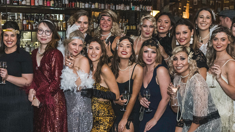 Works employees in fancy dress at a Christmas party