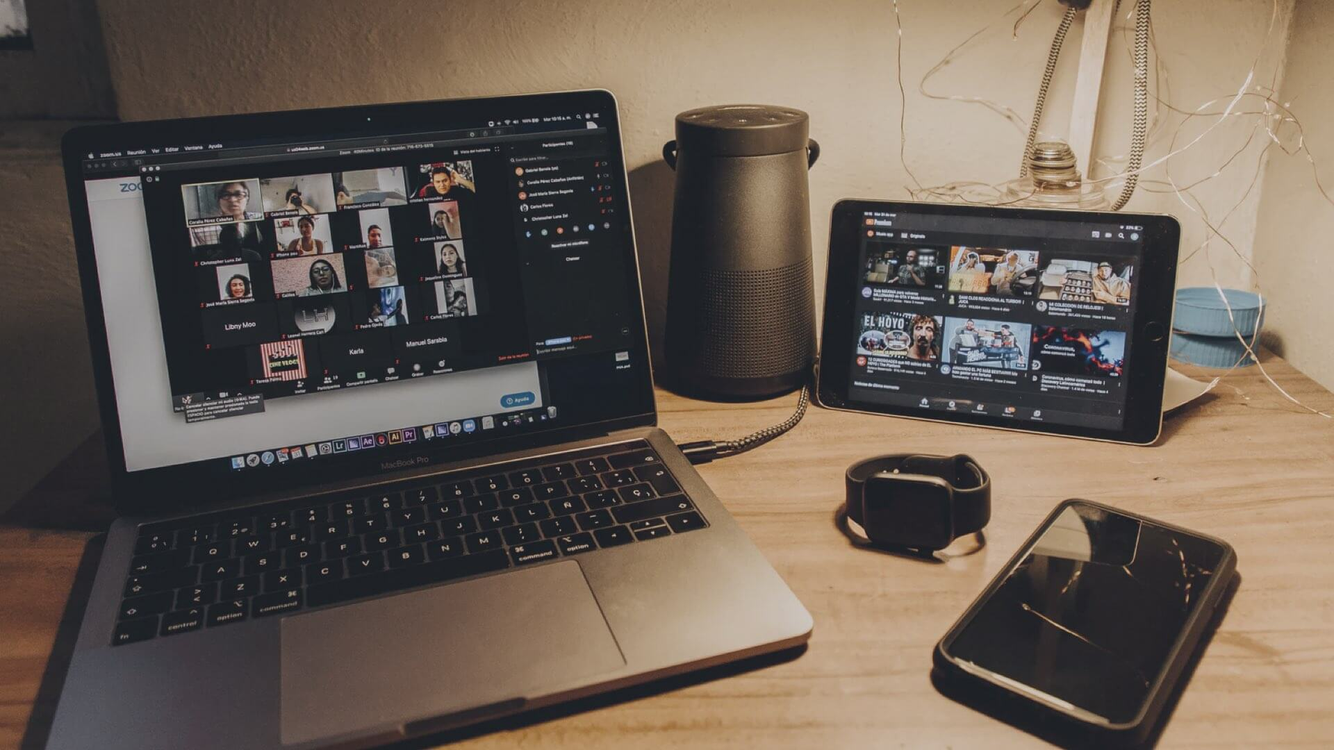 Various digital devices on a desk