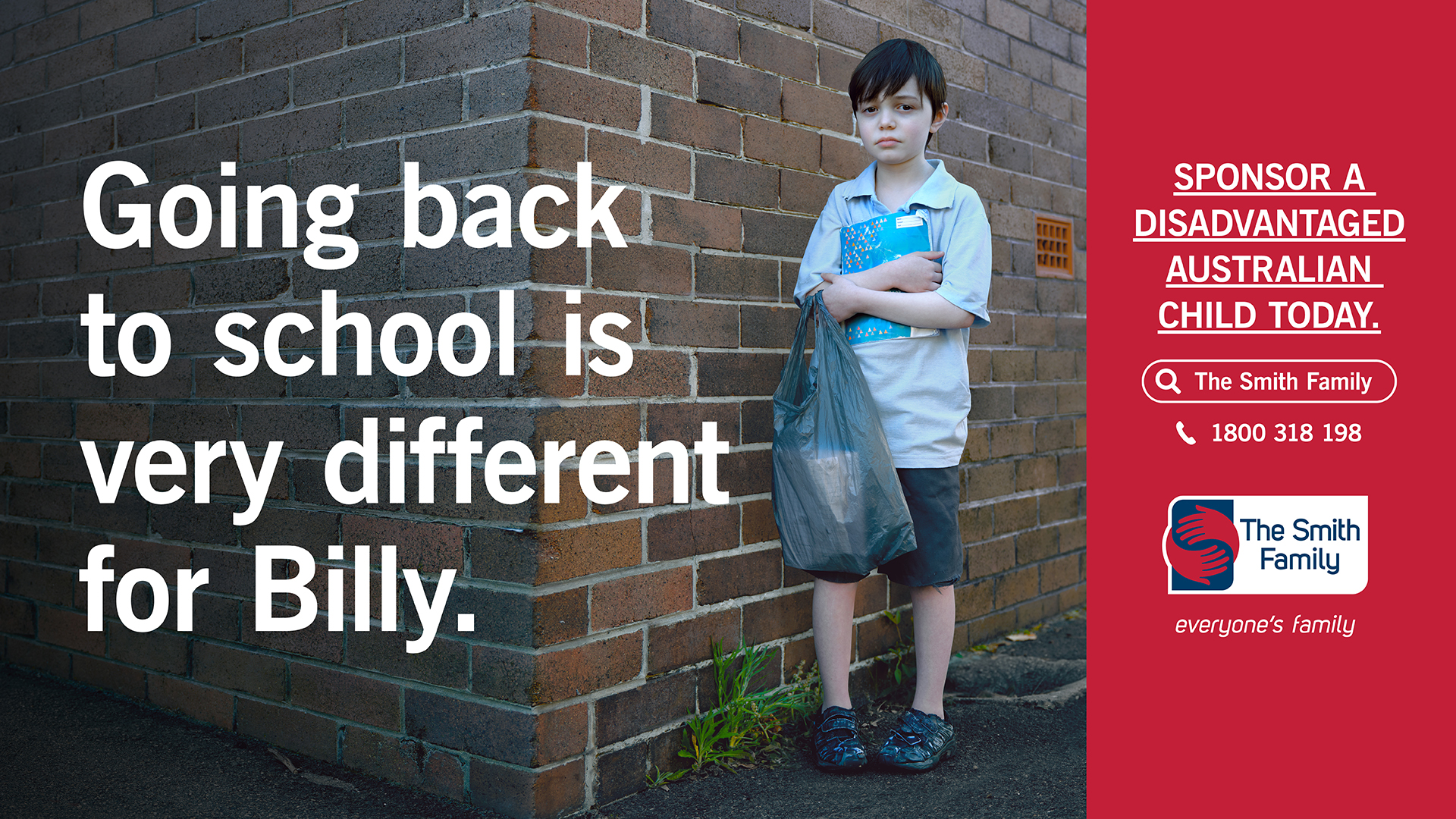 The smith family hero with boy in school uniform looking sad