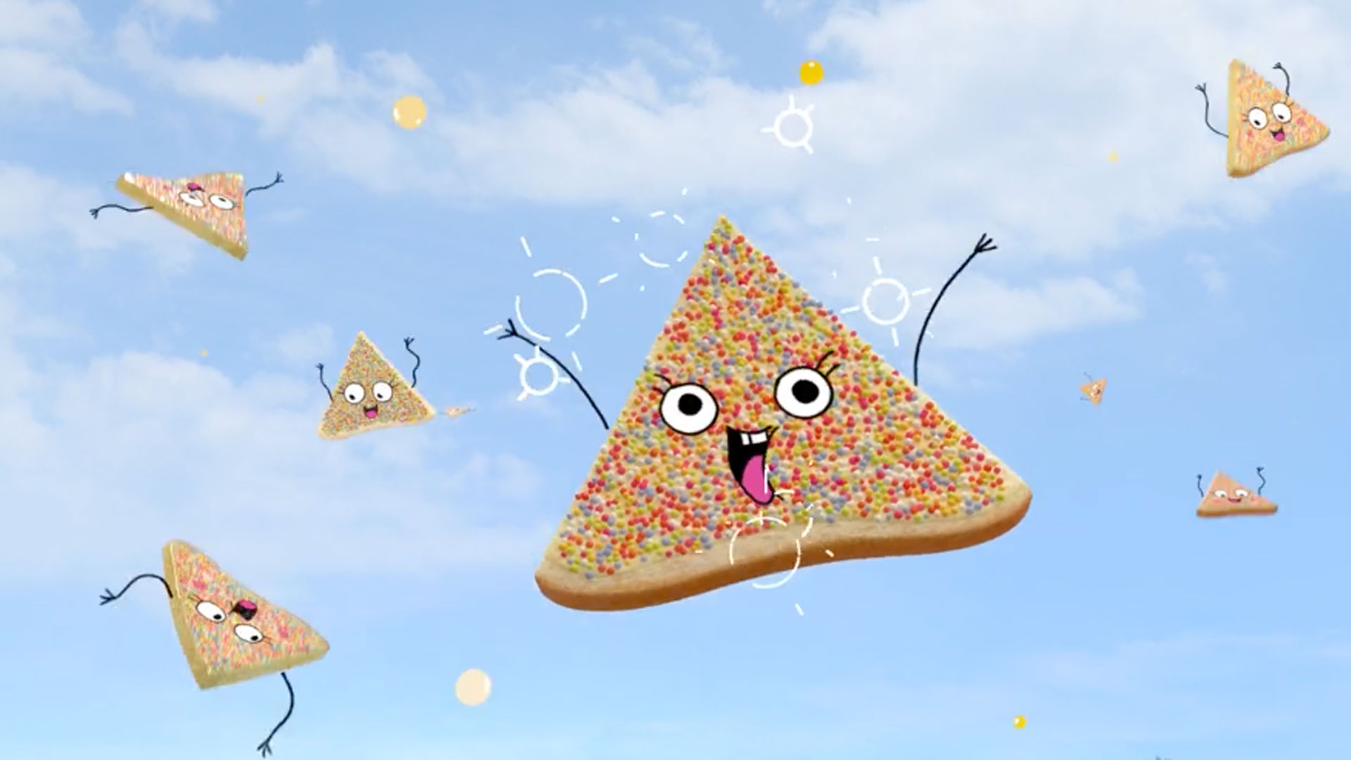 Meadowlea hero of tub of spread with cartoon characters fairy bread from tv advert