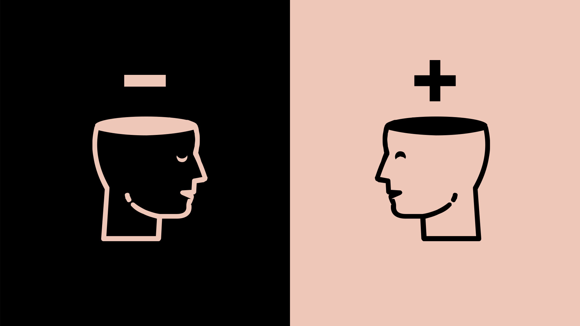 The two mindsets article thumbnail image graphic of 2 men with a plus above one's head and a minus above the other