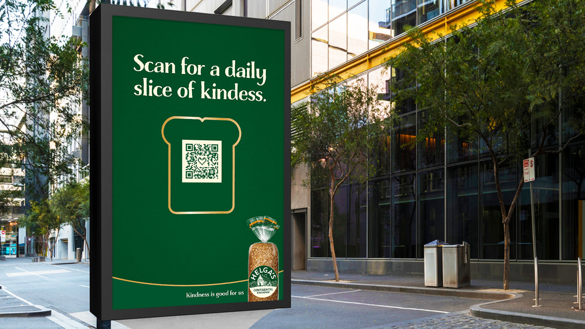 Helga's kindness hero image of campaign visual with loaf of bread