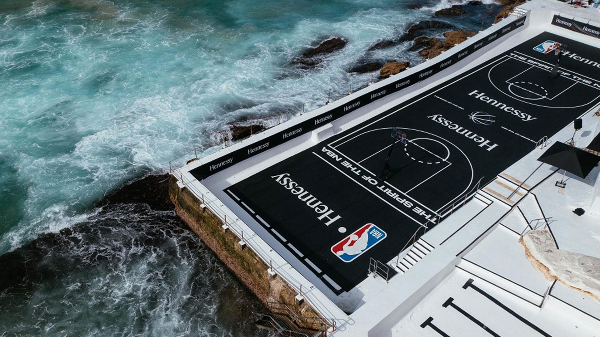 Hennessy Hero image of Bondi Iceberg's pool transformed into a basketball court