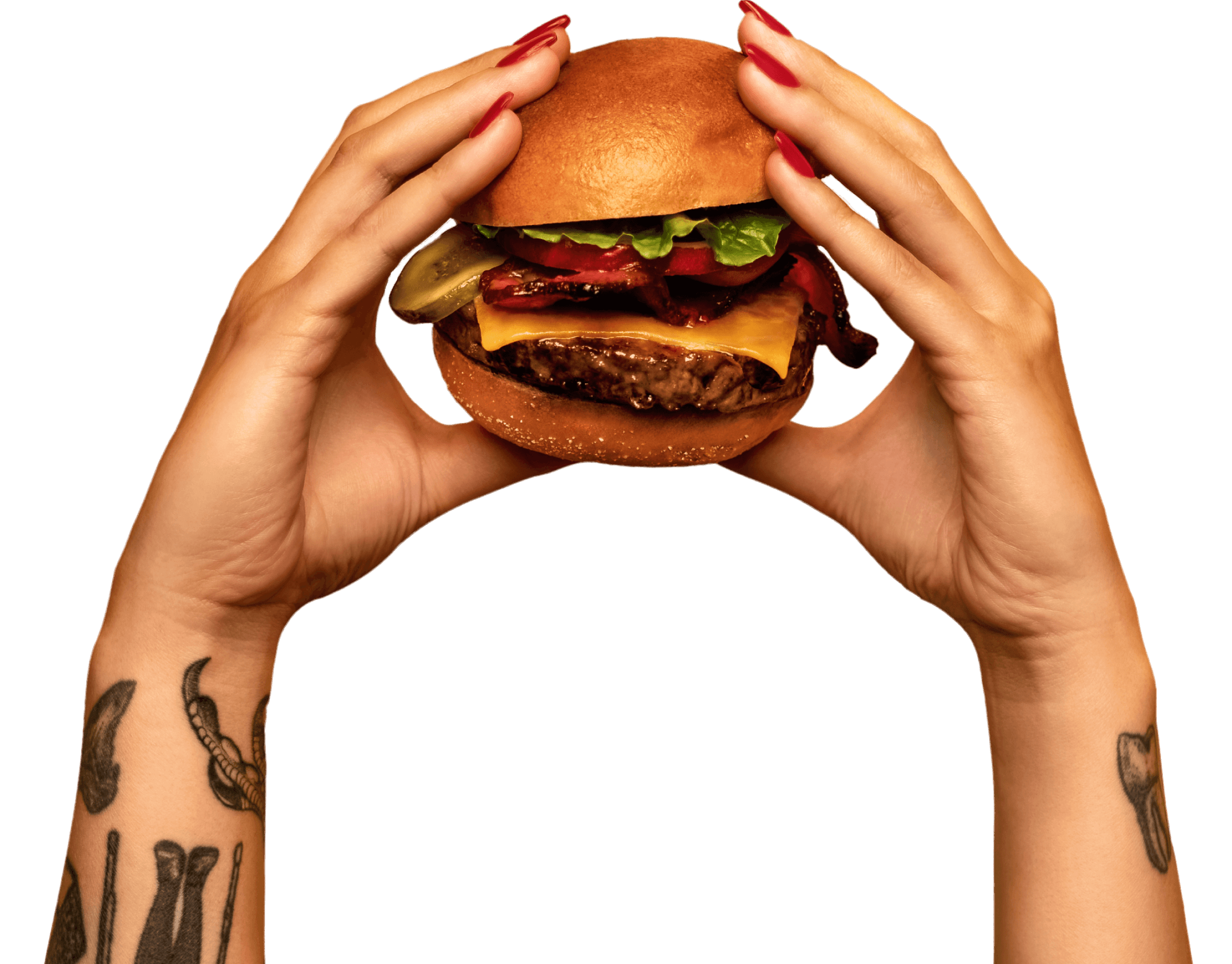 two hands holding a hamburger