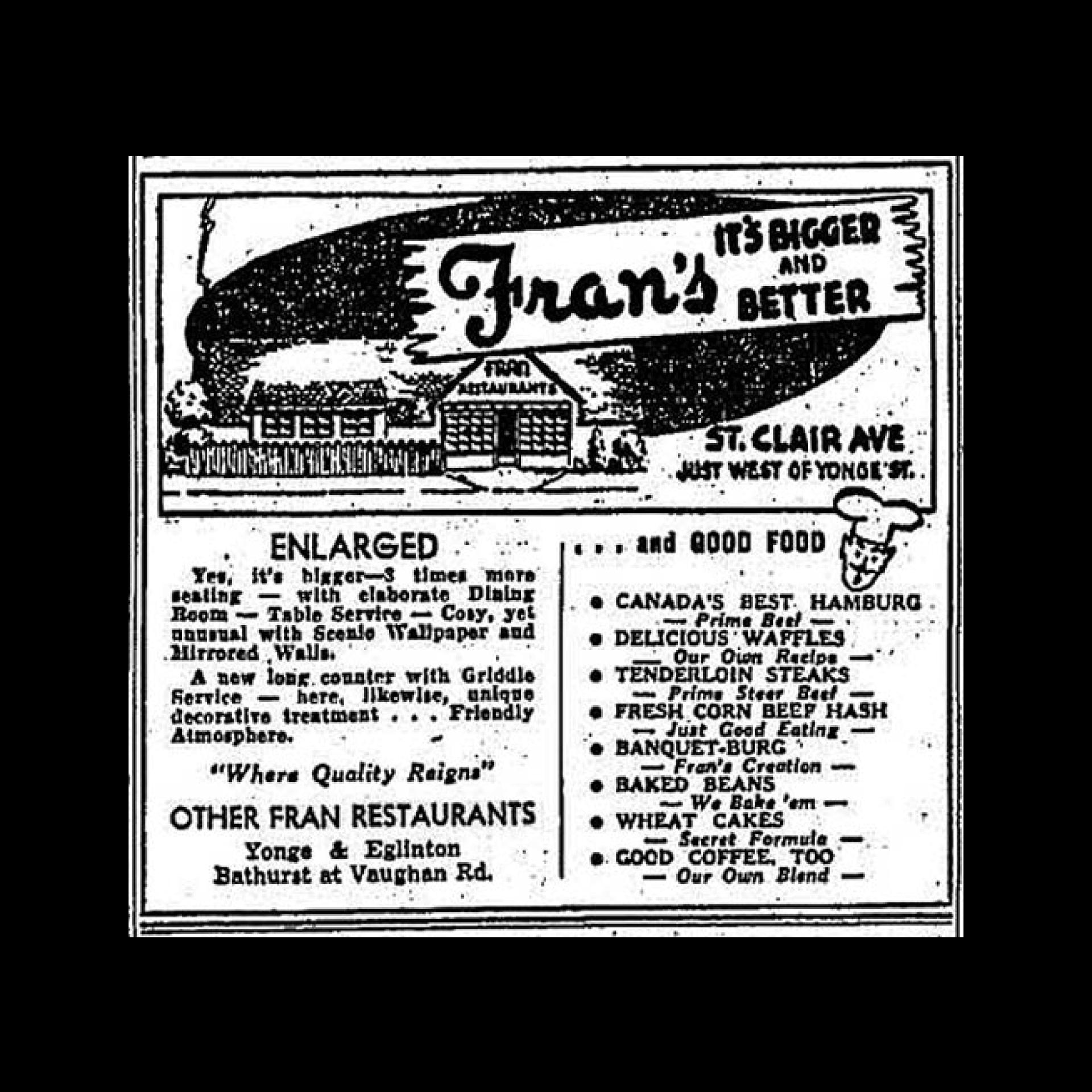 Fran's menu from 1950