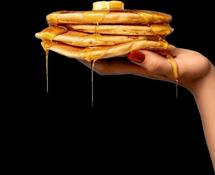 hand holding pancake