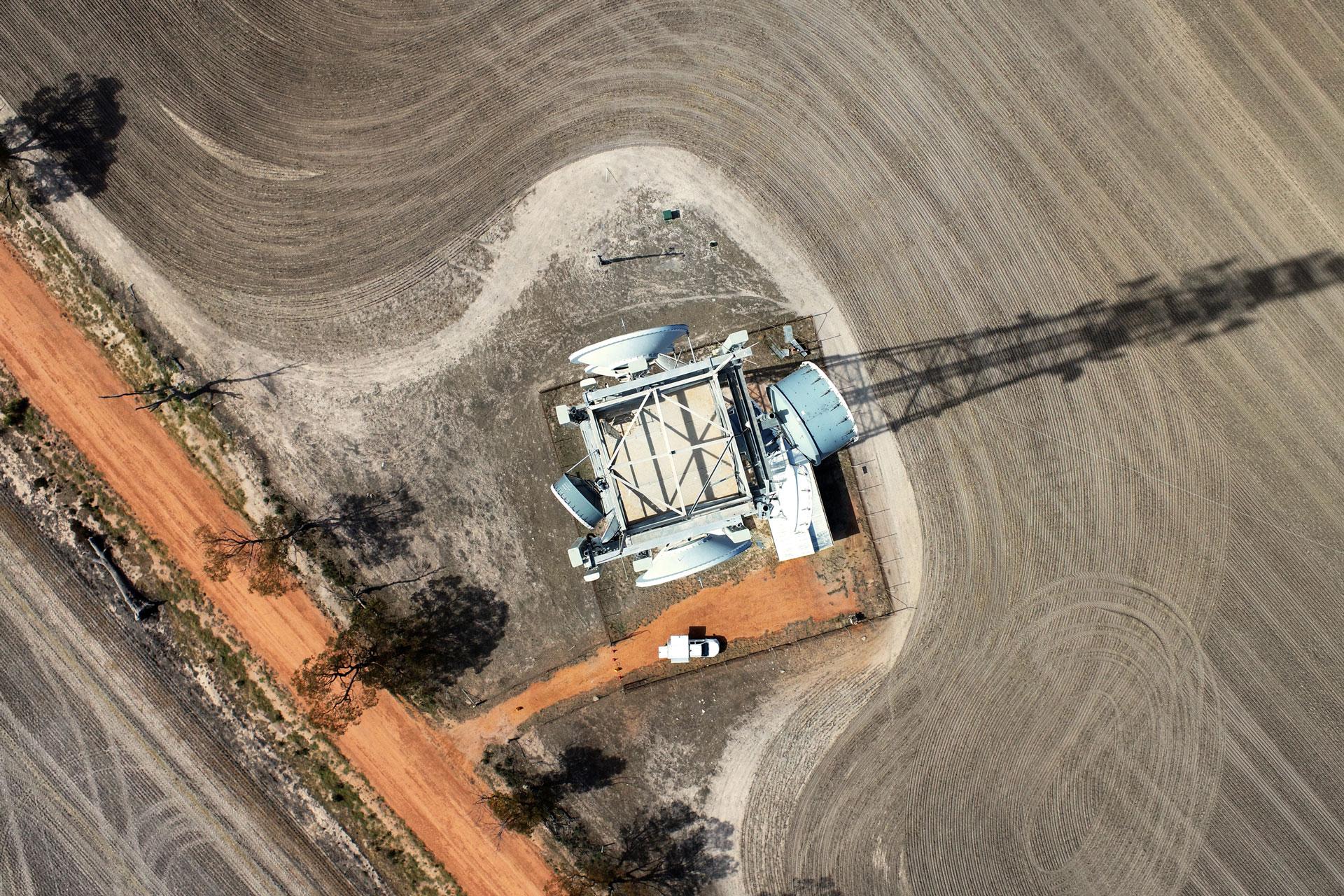 Aerial view of an Amplitel tower in regional Australia