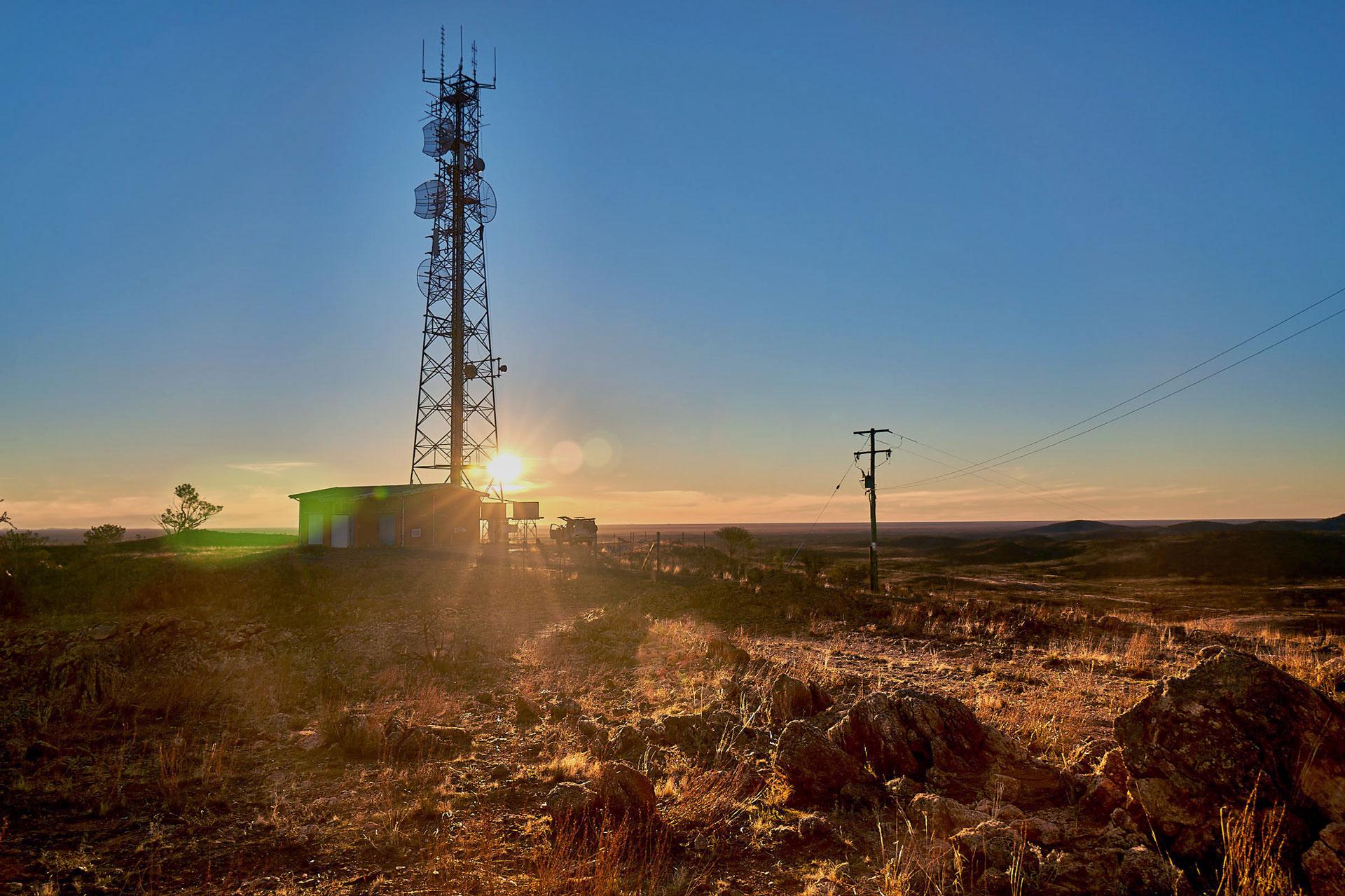 An Amplitel tower at sunset