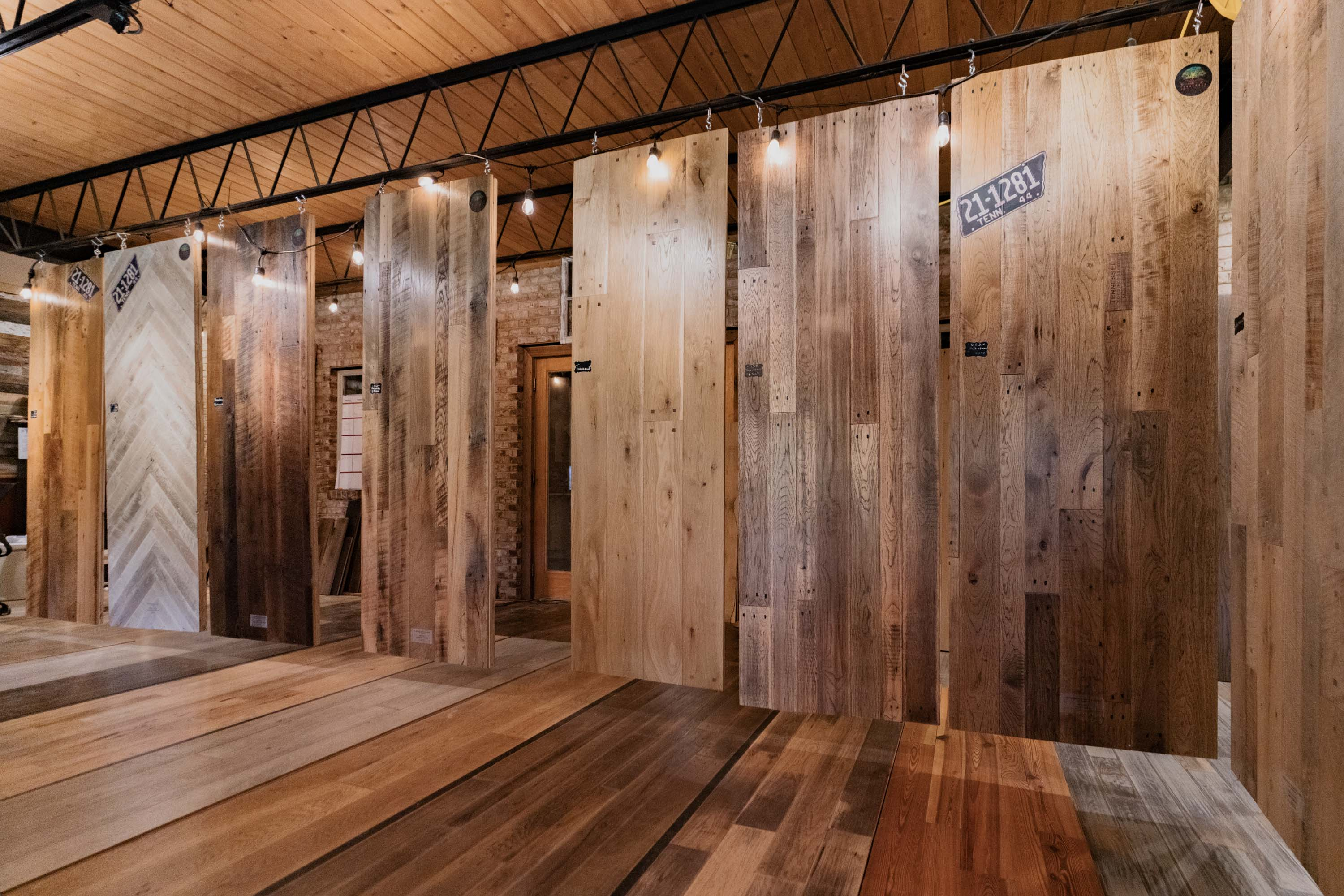 a picture of Tennessee Wood Flooring's Showroom in Sevierville, Tennessee. Our showroom contains all of our products available, and the ability to make custom wood flooring.