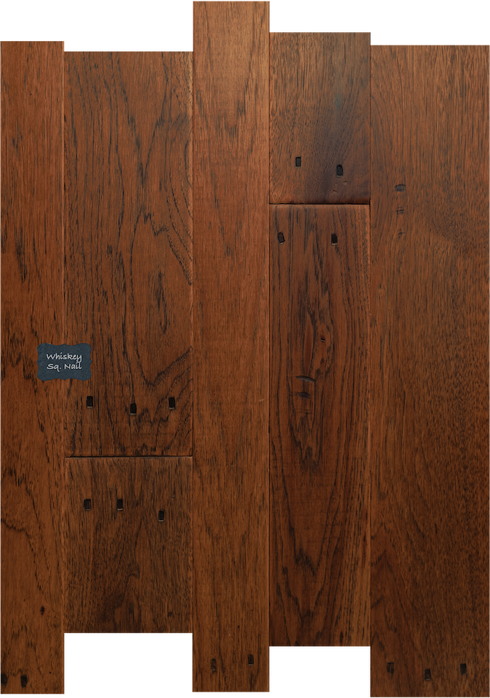 Whiskey Square Nail Hickory Wood Flooring. Our Square Nail Designs come from the authentic look of reclaimed wood floors with the old square nail holes in the wood.