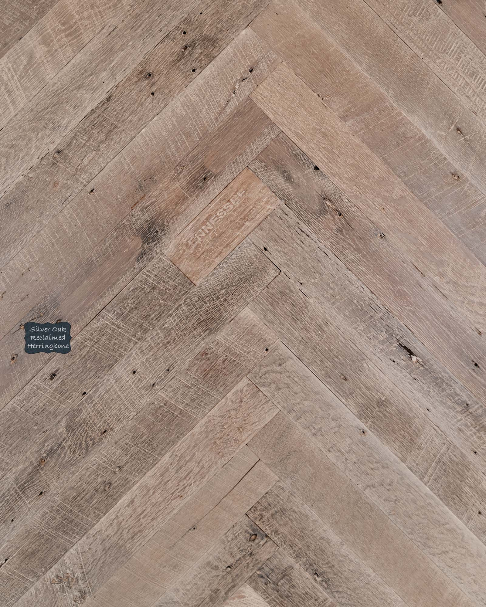 Silver Oak Barnside Herringbone Reclaimed Wood Flooring. Our Reclaimed lineup is our premium quality product line with a unique and classic look