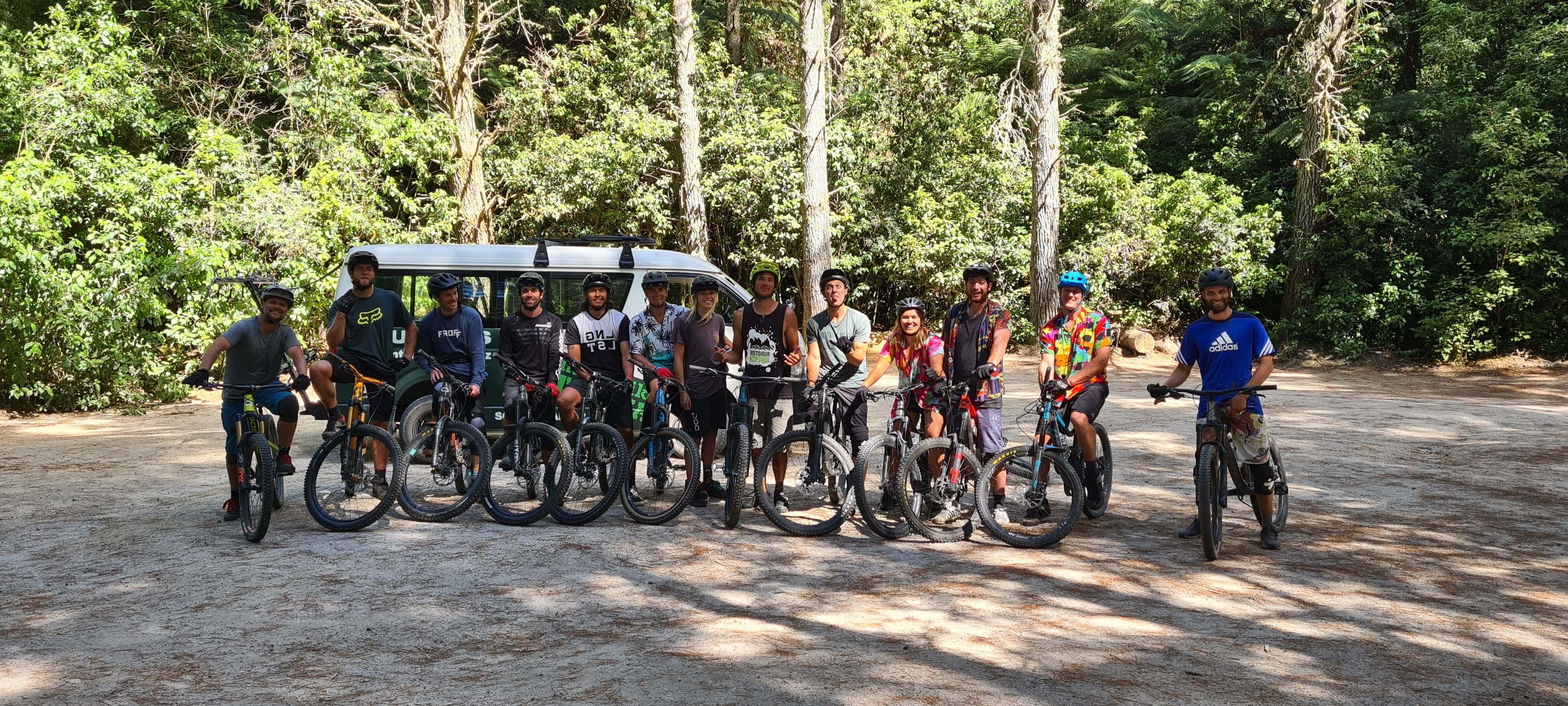 rotorua rafting crew mountain biking