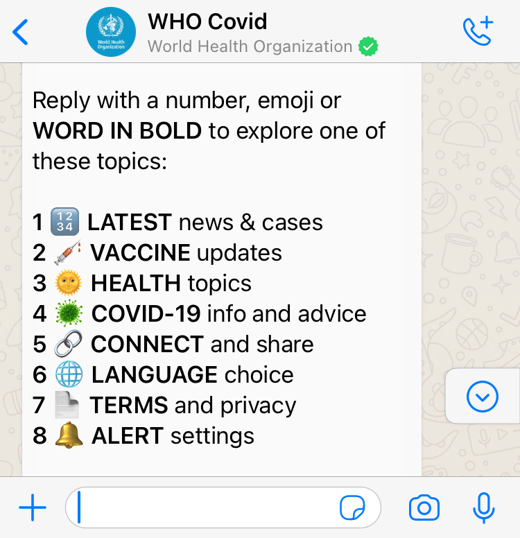 World Health Organisation Whatsapp Health Alert created with Turn.io - Main menu