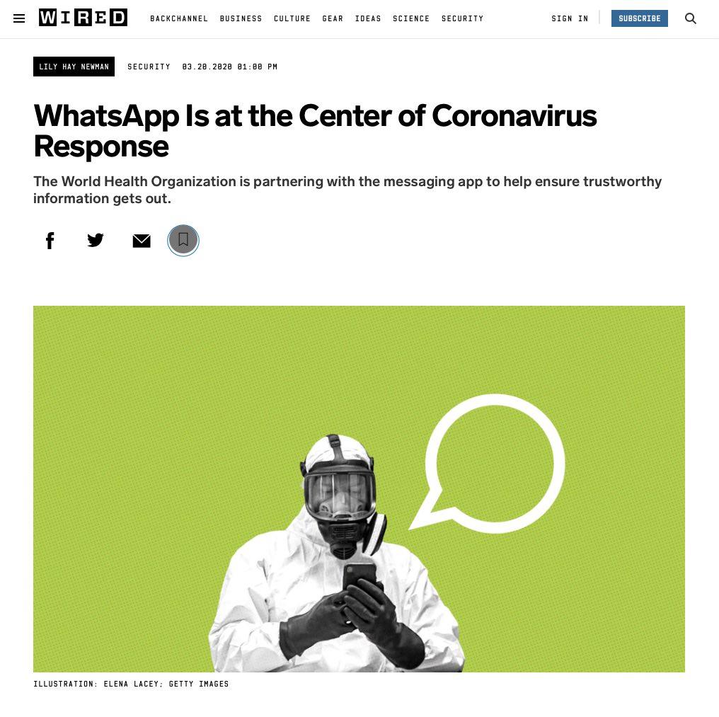 Wired Magazine online article about the World Health Organisation Whatsapp Health Alert created with Turn.io - Headline: WhatsApp is at the center of coronavirus response.