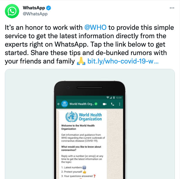 Whatsapp Tweet about the World Health Organisation Whatsapp Health Alert created with Turn.io - Introduction message on the screen.