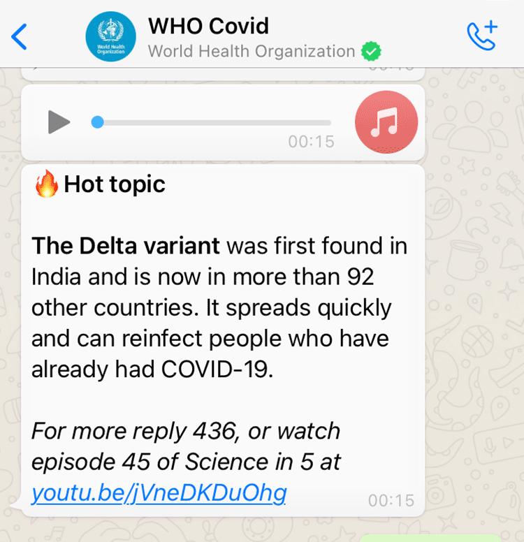 World Health Organisation Whatsapp Health Alert created with Turn.io - Showing audio clip response.