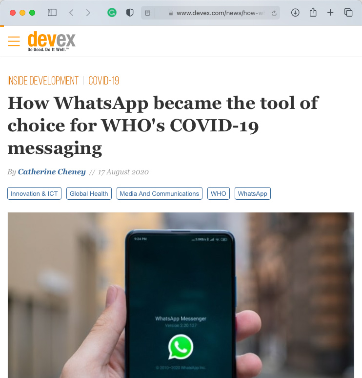Devex article about the World Health Organisation Whatsapp Health Alert created with Turn.io - Headline: How WhatsApp became the tool of choice for WHO's COVID-19 messaging.