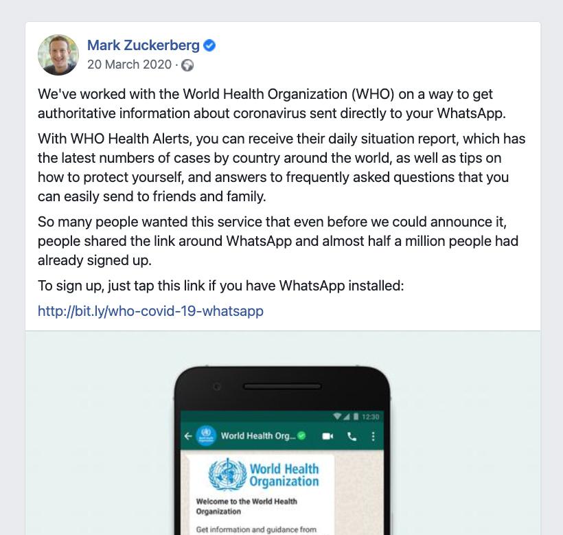 Mark Zuckerberg tweet about the World Health Organisation Whatsapp Health Alert created with Turn.io