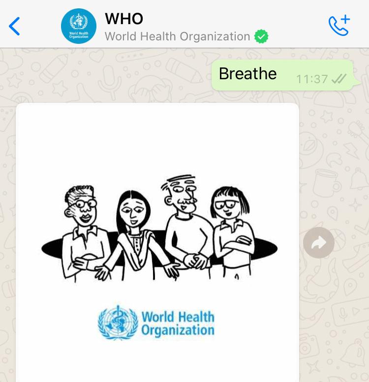 World Health Organisation Whatsapp Health Alert created with Turn.io - Stress management guide intro message.
