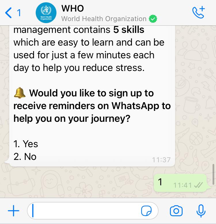World Health Organisation Whatsapp Health Alert created with Turn.io - Stress management screen options.