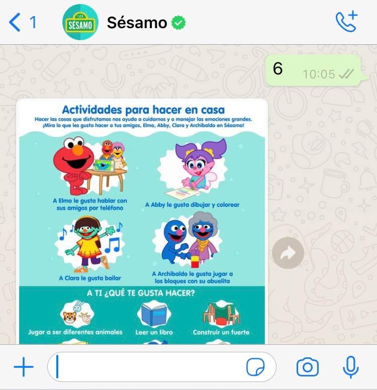 Sesamo Whatsapp Bot activities at home recommendations