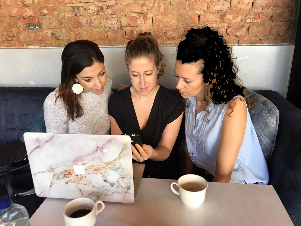 Julia Zulver with Ladysmith Collective founders Lorena Fuentes and Tara Cookson