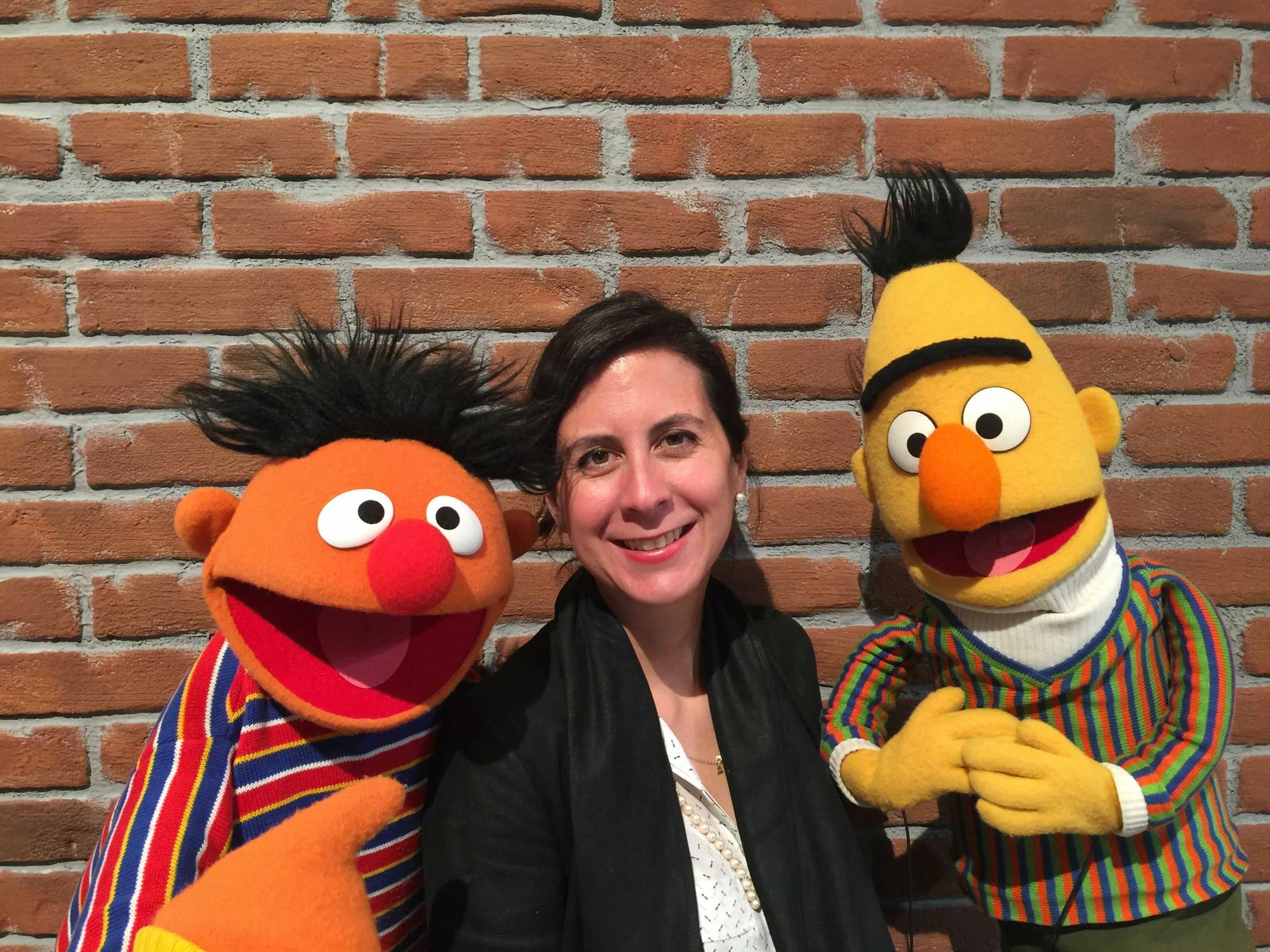 Brenda Campost with Sesame Street characters Ernie and Bert