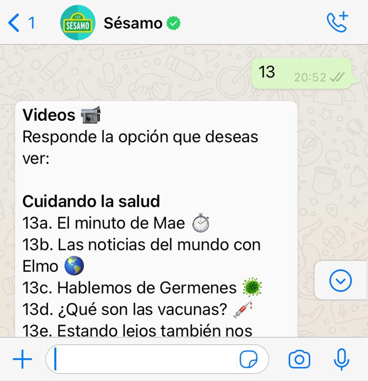 Sesamo Whatsapp Bot Video Menu
