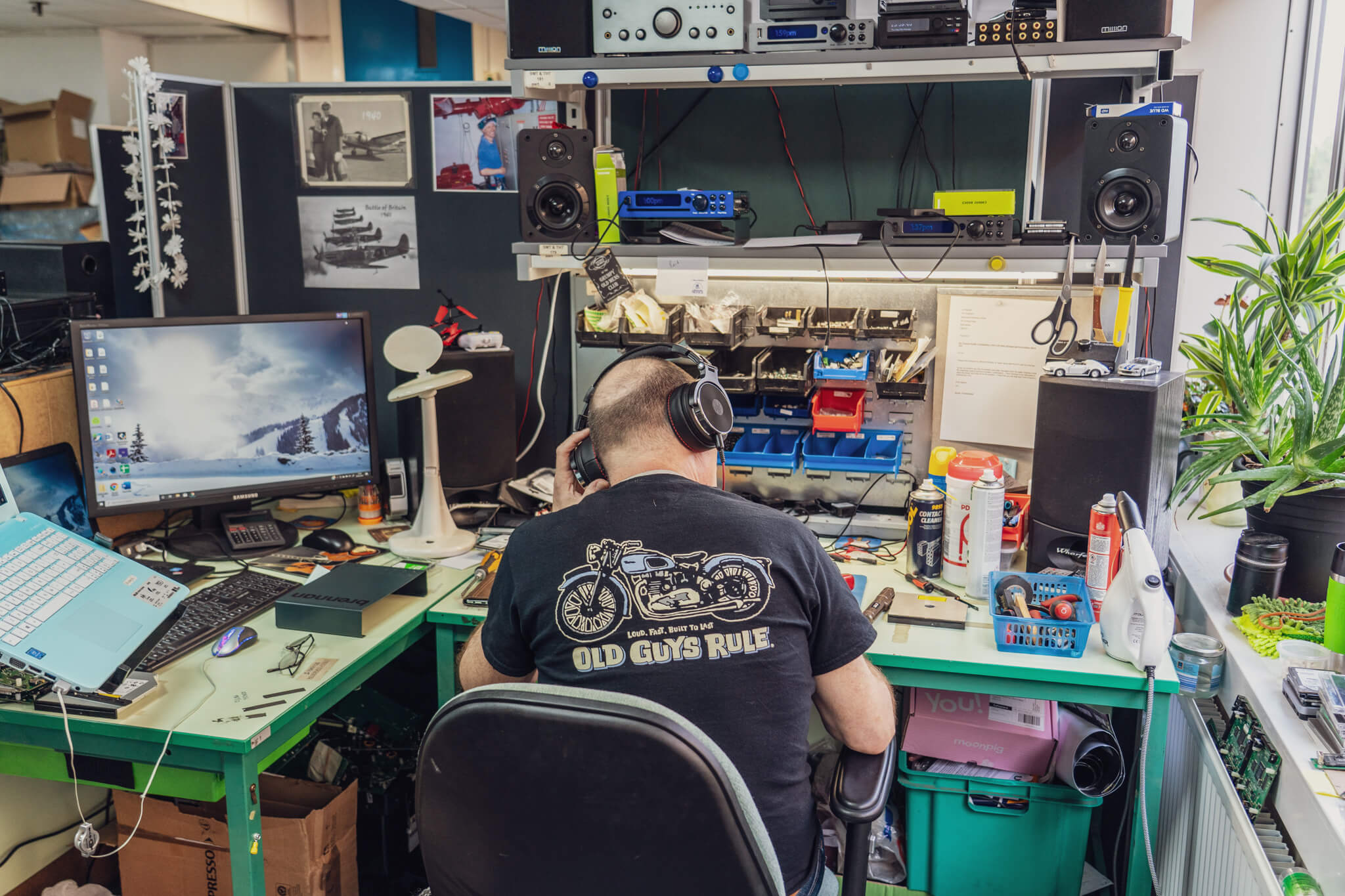 Old Guys Rule - Jon hard at work repairing audio devices