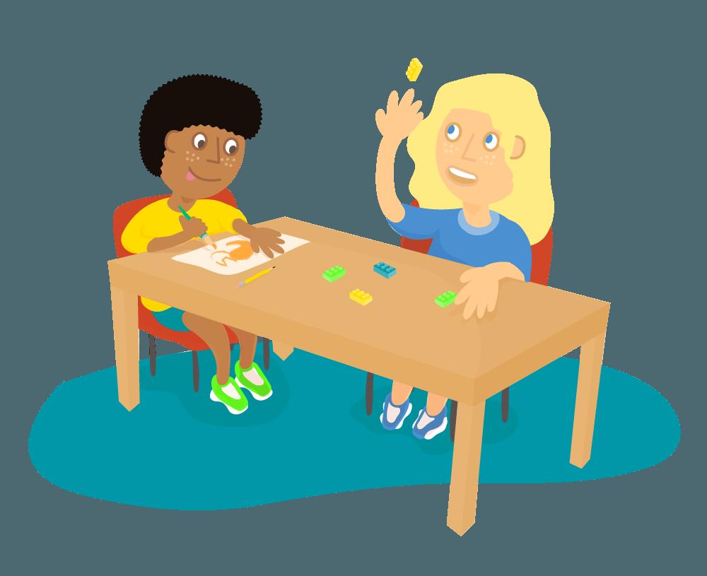 ActivePlay Education Children doing crafts illustration.