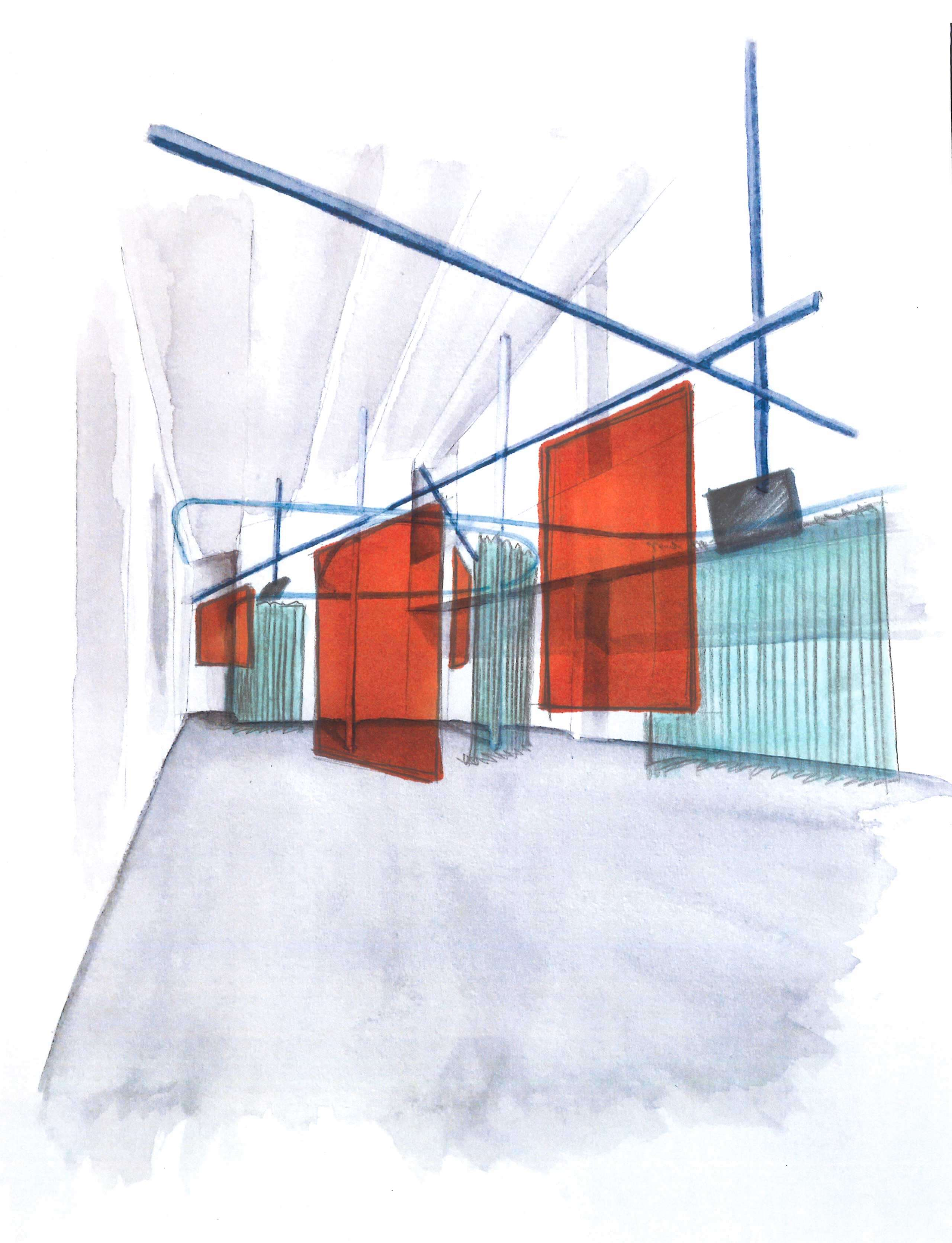 Sketches in blue and red of a wall-hanged light system that holds transparent walls.