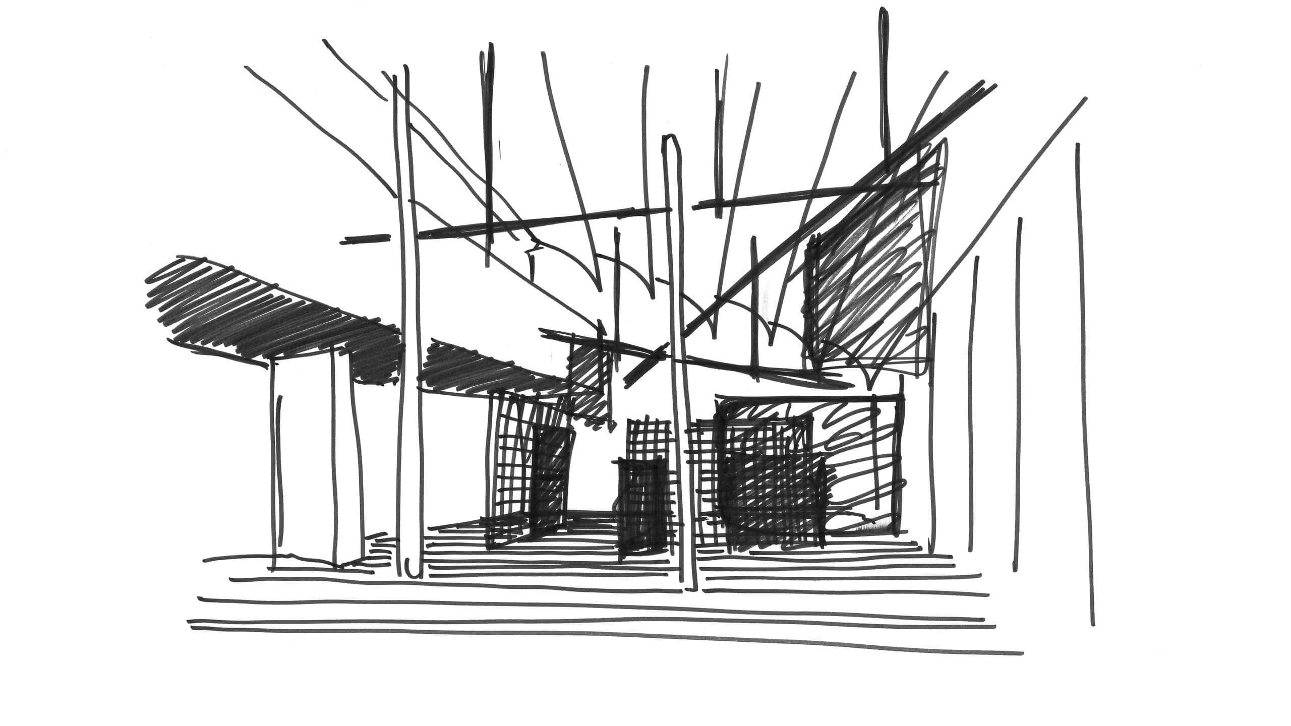 Black and white sketch of the new Laufen Space Milano main exhibition room.