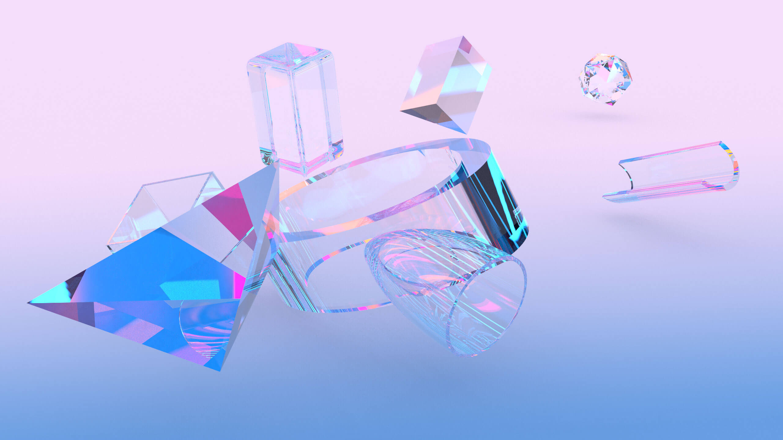 Rendering in violet and other light colors that shows different objects which look transparent or like crystals.