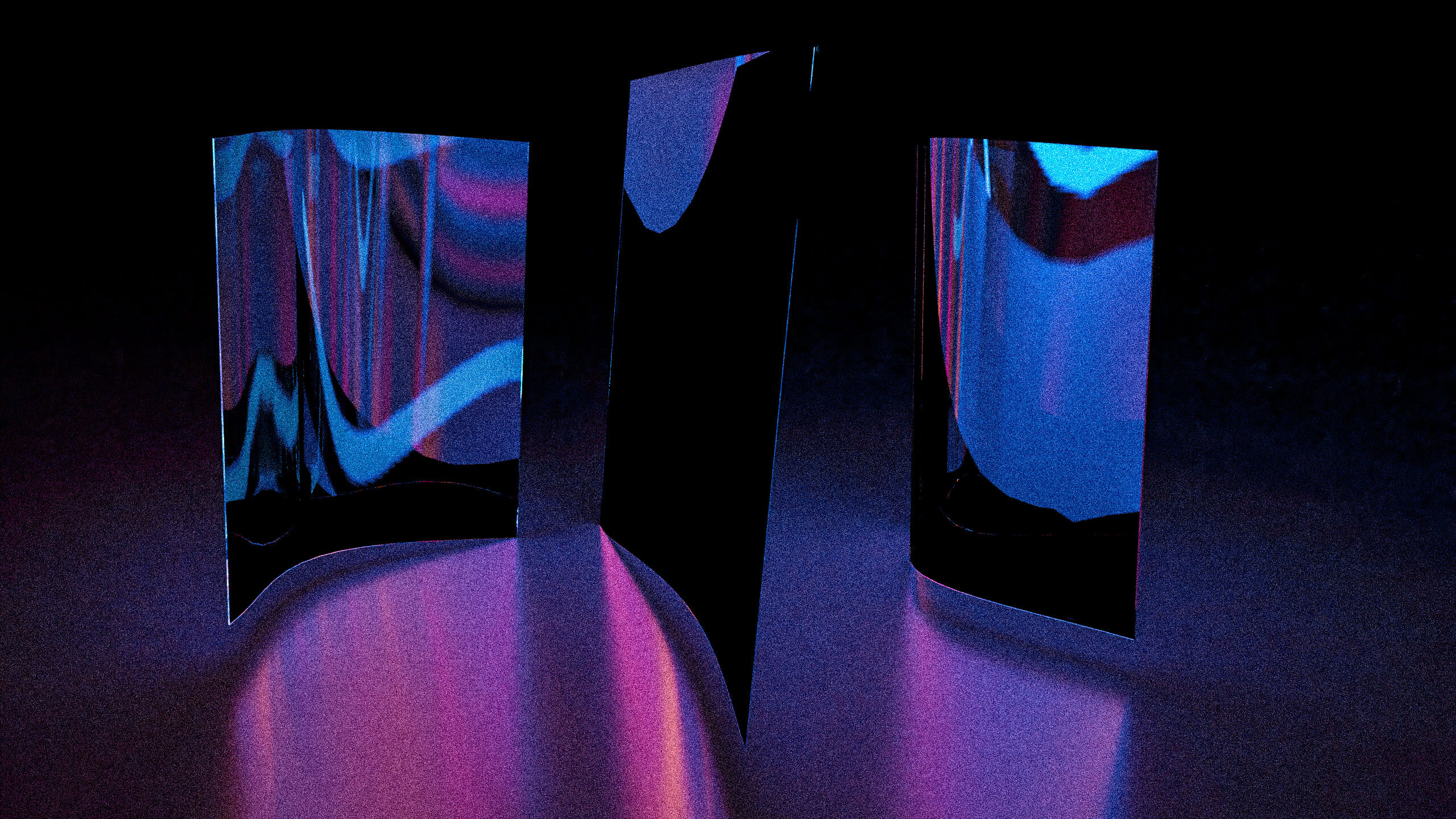 Rendering in blurry violet, pink and blue with reflecting and shiny elements that resemble tiny walls.