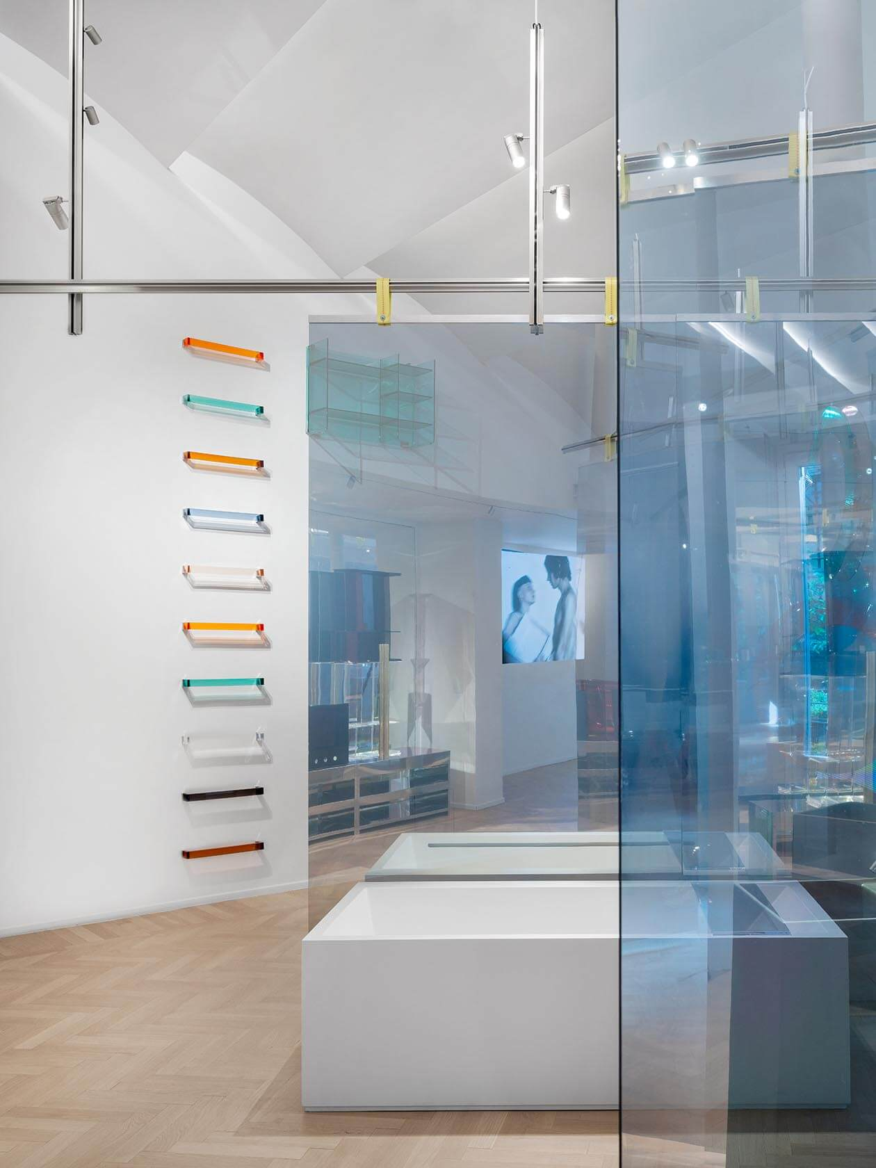 Glass walls, mirrors and screening build to the temporary Laufen Space exhibition.