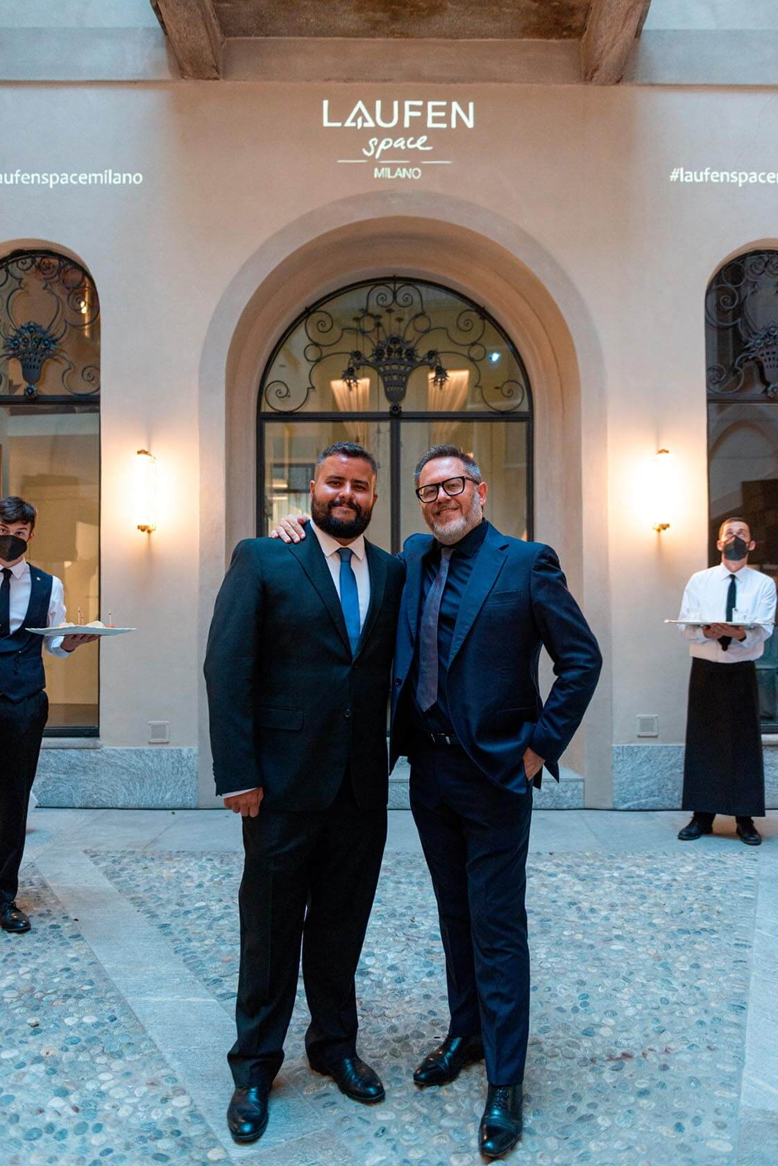 Luis Antunes and Gerardo Sannella in front of Laufen Space Milano.