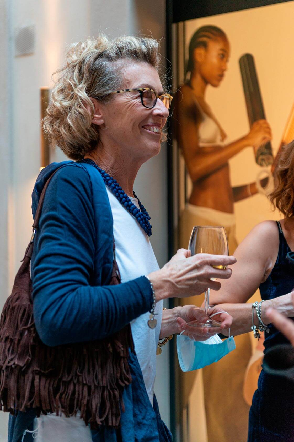 Gerda Vossaert visiting the LAUFEN space MIlano exhibition.