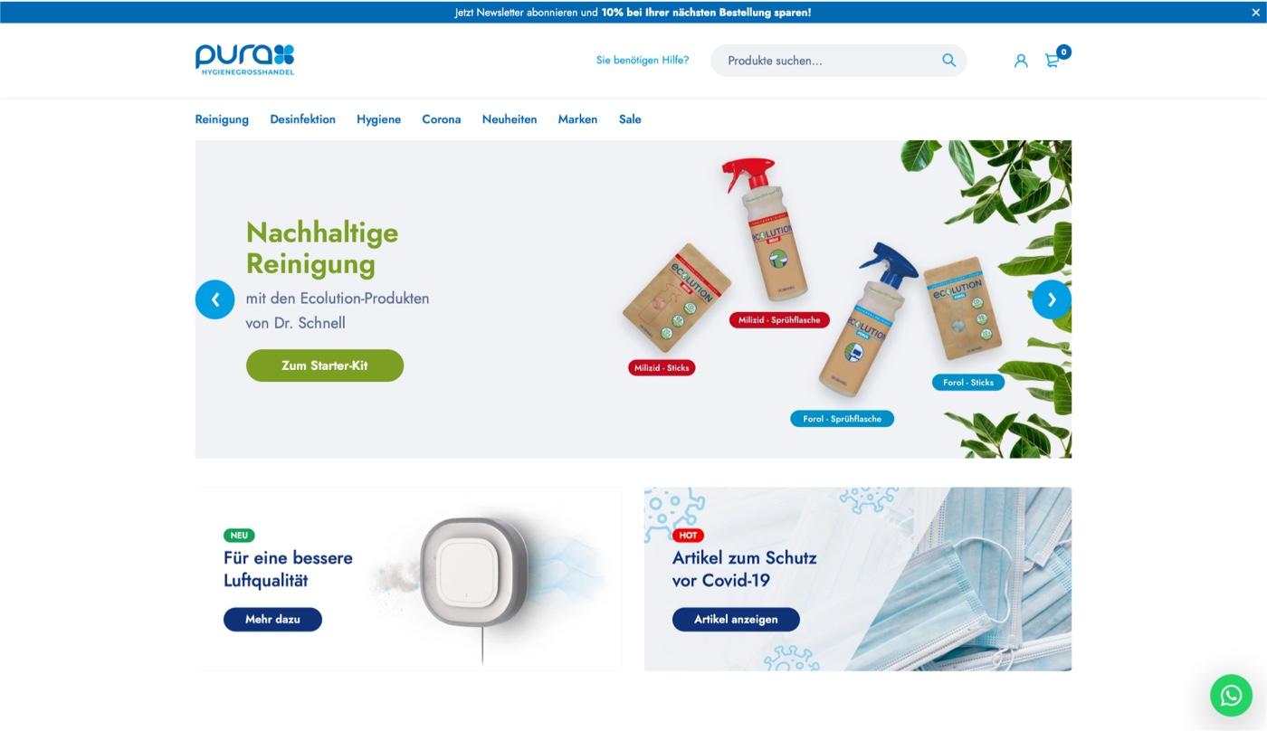 Portfolio - Purax GmbH Online-Shop