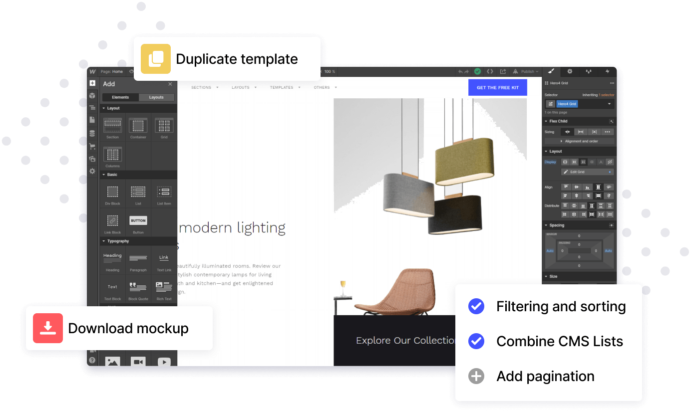 Mockup showing Webflow Designer interface with popup modals showing functionality for duplicating templates and adding features