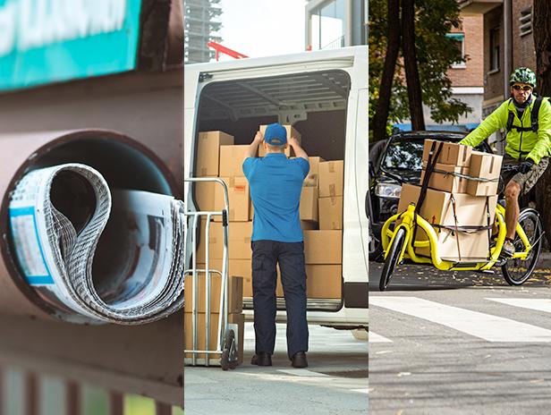 Courier parcel last mile delivery collage