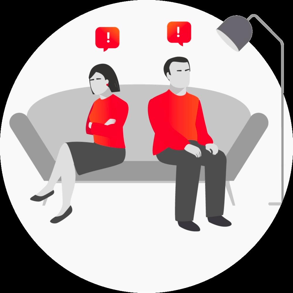 Irriteret par sitter på en sofa - Parweb