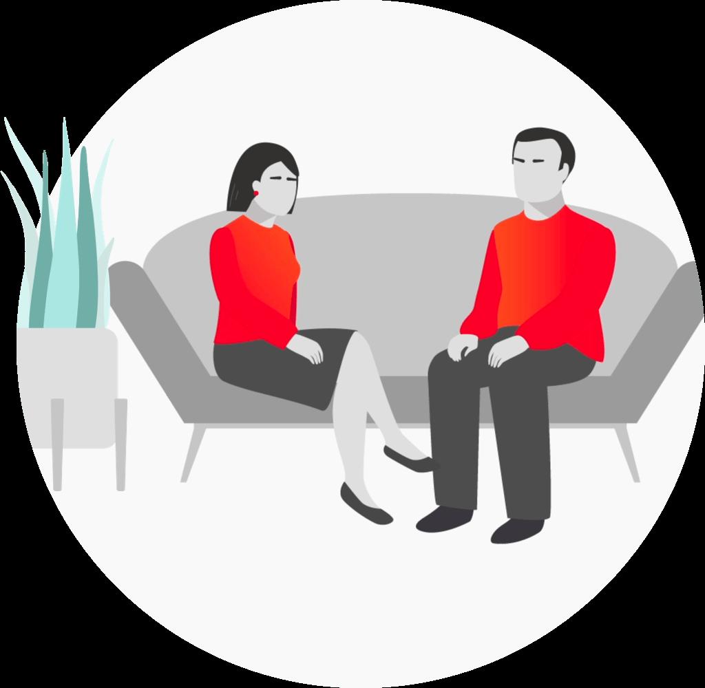 Par snakker sittende på en sofa - Parweb