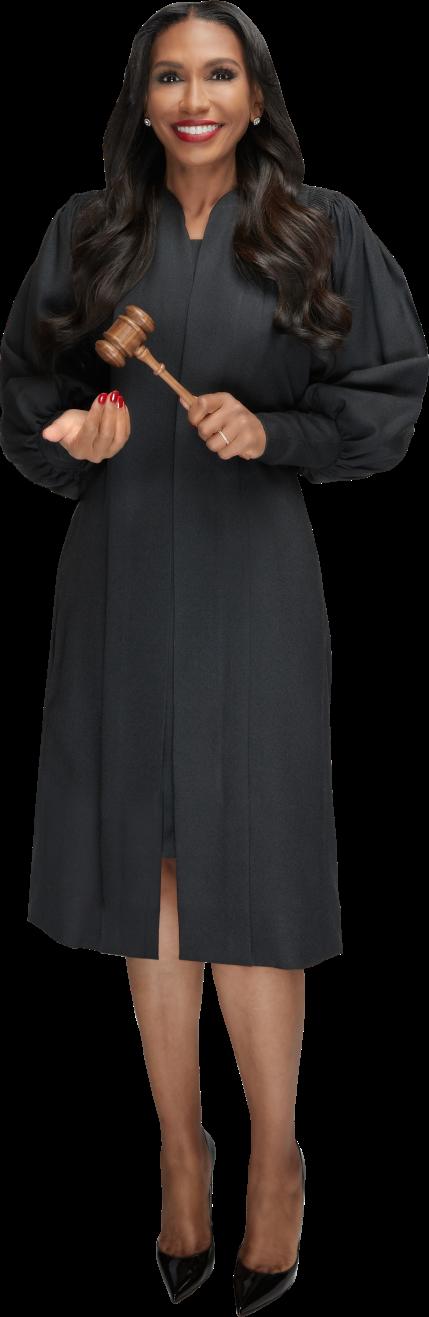 Full Body Image of Judge Rhonda in judges robe with gavel