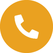 An orange circle with a black phone inside.