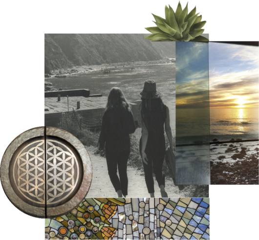 collage of geometric shapes and a silhouette of two people walking down the beach