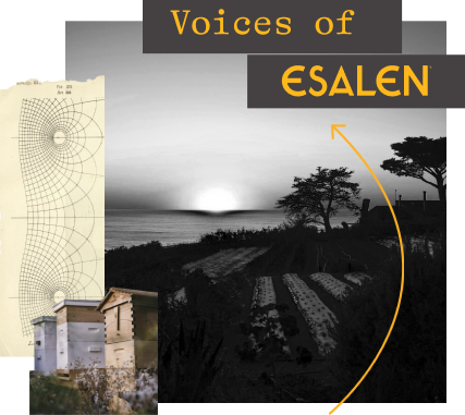 """A collage of images. The words """"VOICES OF ESALEN"""" appear in yellow over a black and white photograph of a farm. Along the left edge of the image, there is a geometric design with black lines on a cream background;"""
