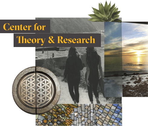 """The words """"Center for Theory and Research"""" in yellow over a collage of photographs showing parts of the Esalen campus."""