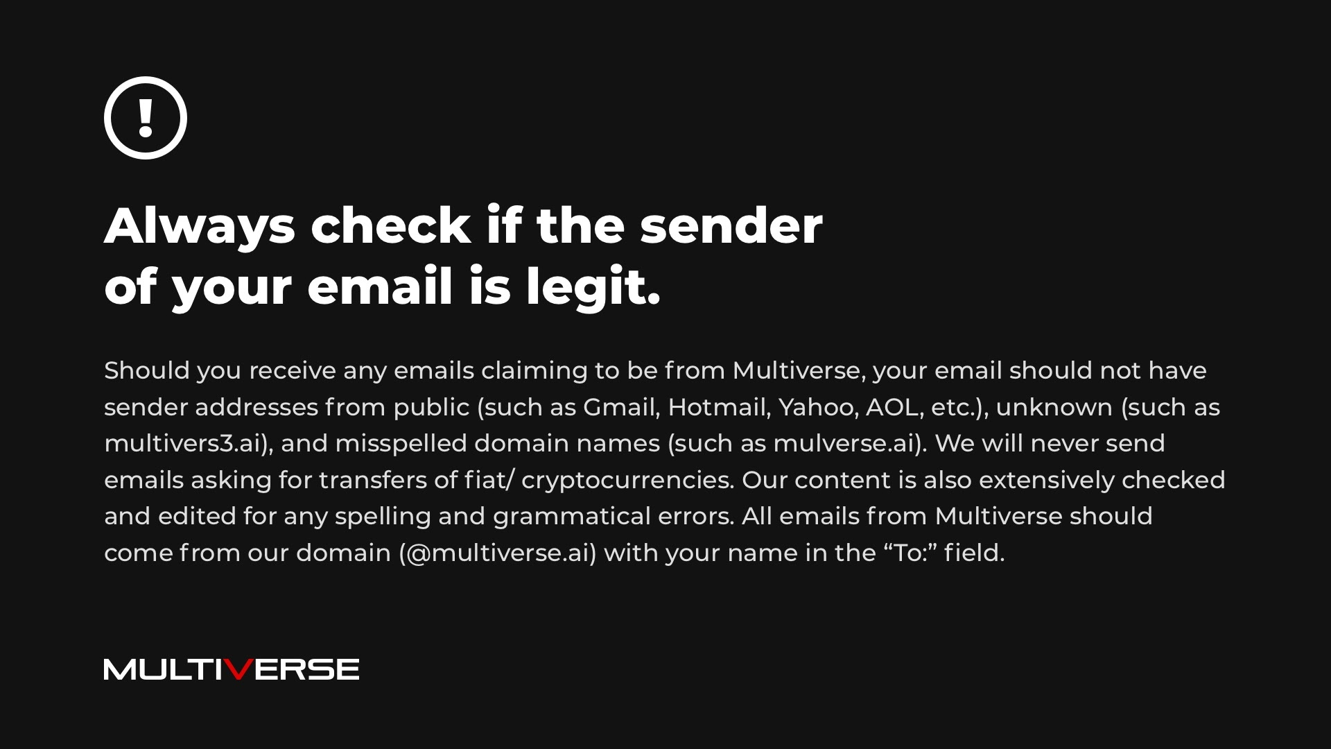 Security reminder graphic against suspicious emails with MultiverseAI logo