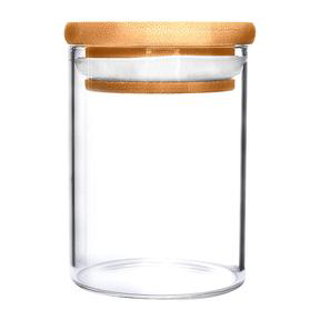 Glass Wood Suction Cap Containers (1,2,4,10,18 oz)