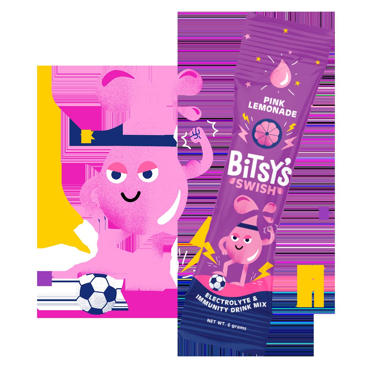 Bitsy's Pink Lemonade Swish character and packet